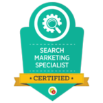 Certification badge from DigitalMarketer Lab for Search Marketing Specialist