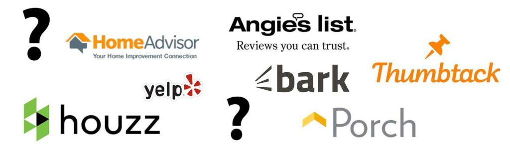 Homeadvisor vs Yelp vs Houzz vs Thumbtack vs Porch vs Angie's List vs Bark