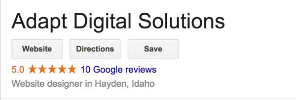 A screenshot of Google reviews for Adapt Digital Solutions