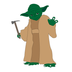 Yoda using the force to make a sale with a hammer in his hand