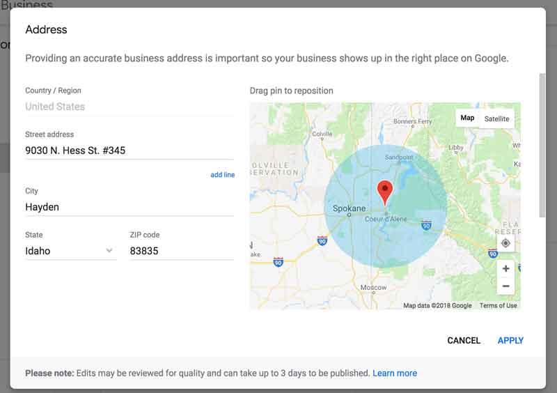 GMB location setup screen