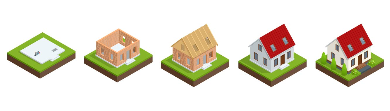 An illustration of the 5 phases of building a house.