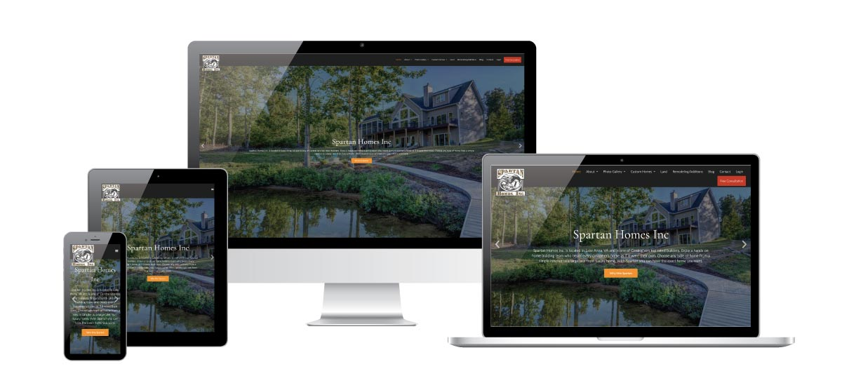 4 screens of various sizes each with Spartan Homes Inc website on it to display the responsive view of the website on different screen sizes.